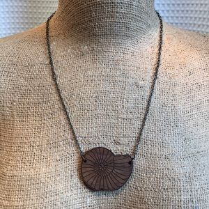 """Handmade Wooden Seashell Necklace on 20"""" Chain"""